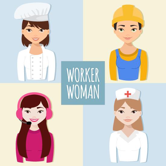 Mujer trabajadora, cocinera, enfermera, operadora y construcción - vector