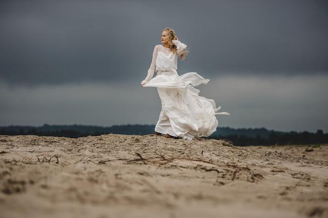 Zwiewna suknia ślubna bocho