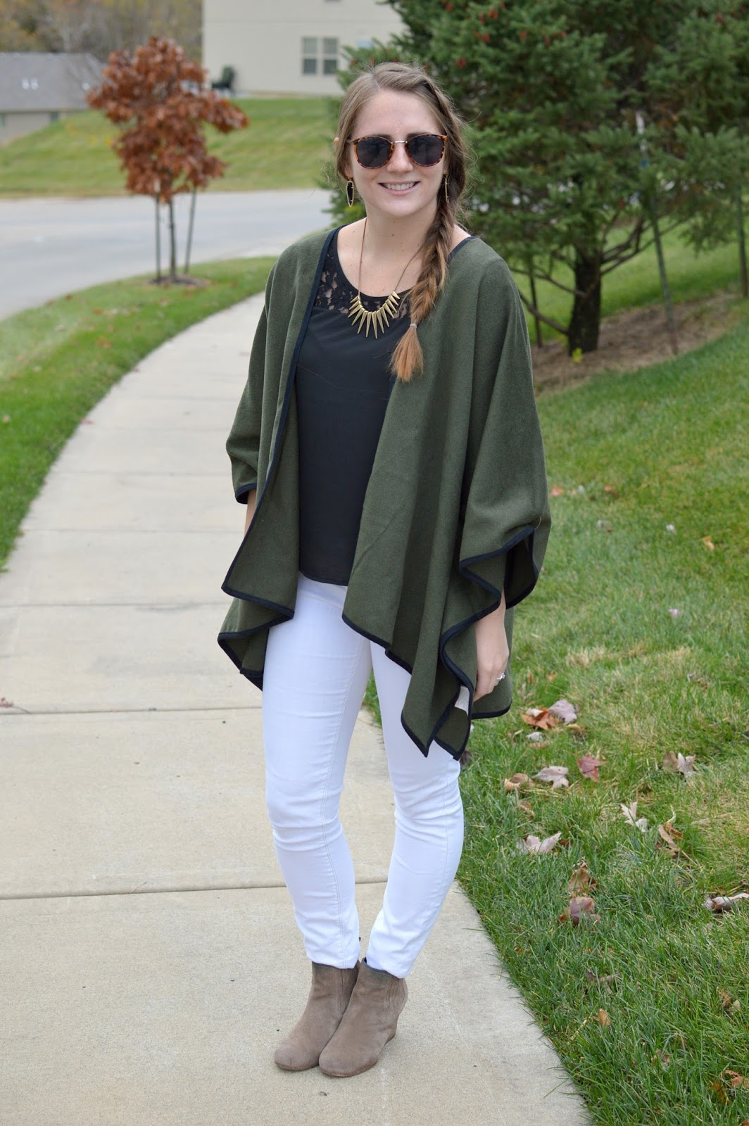 old navy olive green poncho