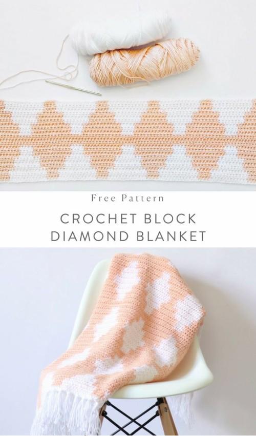Crochet Block Diamond Blanket - Free Pattern