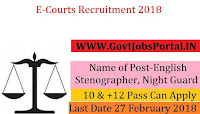E-Courts Recruitment 2018 – 16 English Stenographer, Night Guard