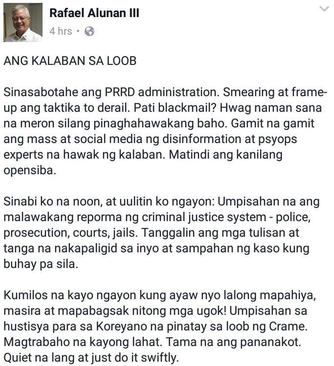 "Former DILG secretary: Enemies from inside ""matindi ang opensiba"""