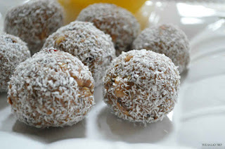 Coconut Chocolate Peanut Butter Protein Balls close up for the Recipe Card Image