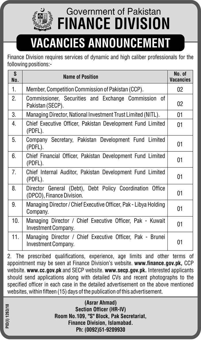 Latest Vacancies Announced in Finance Division Govt Of Pakistan 16 Sep 2018