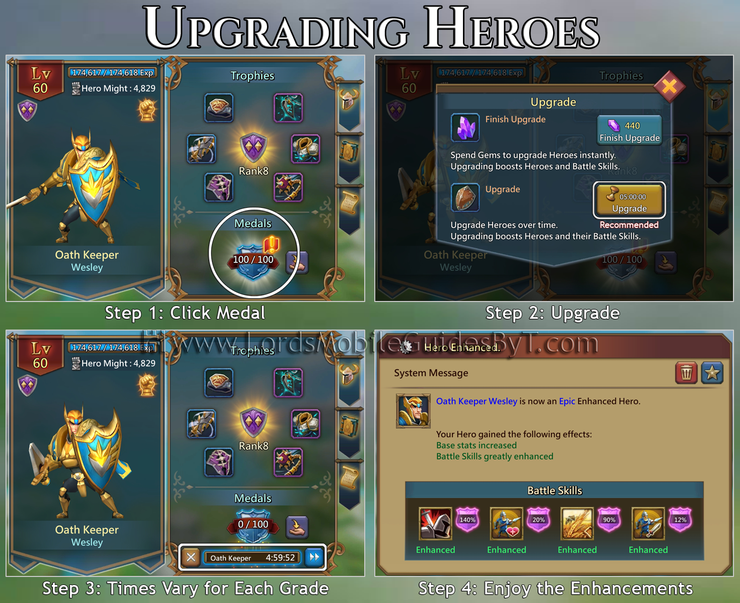 Heros: Types, Grades, Levels, & Ranks