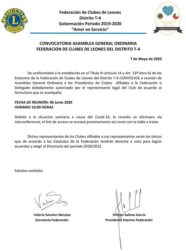 Primera Convocatoria Asamblea General Ordinaria de la Federación de Clubes de Leones del Distrito T-4