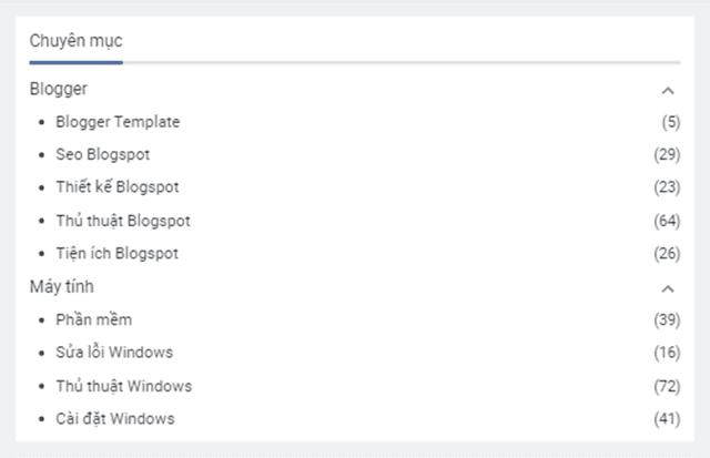 Tùy biến widget Label theo danh sách thu gọn