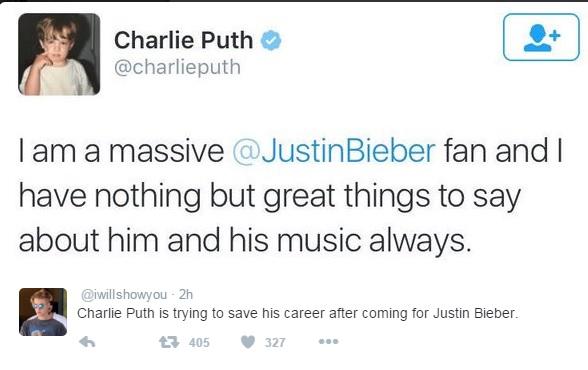 Charlie Puth insulta a Justin Bieber mientras cantaba su canción con Selena Gomez (VIDEO)