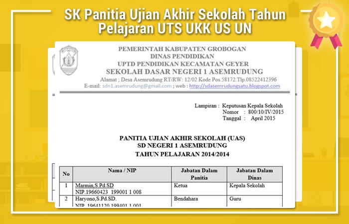 SK Panitia Ujian Akhir Sekolah Tahun Pelajaran UTS UKK US UN
