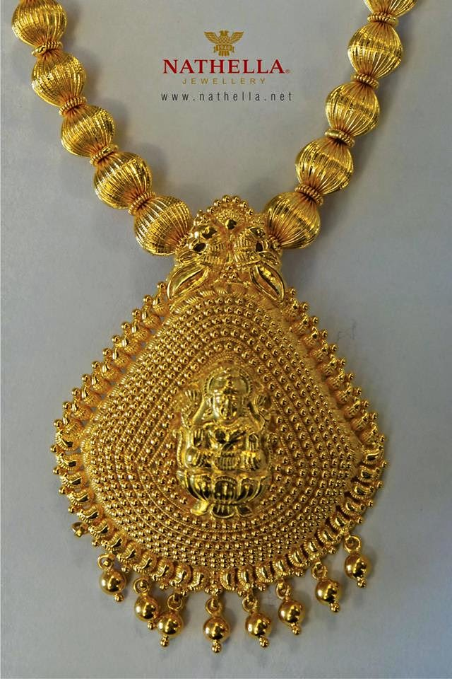 Indian Jewellery Designs: 22k Traditional gold necklace