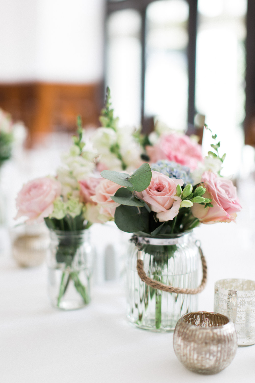 Pastel Flower in Jars Wedding Decor