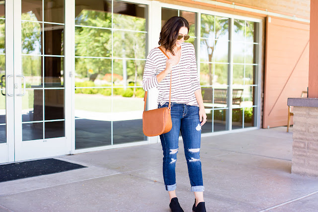 Fall Inspiration outfit with bp stripped top and Ankle Skinny Jeans 7 FOR ALL MANKIND