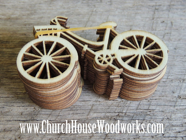 5 Wooden Die Cut Bicycles for crafts, sewing, DIY projects,  scrap booking, embellishments and more by Church House Woodworks Rustic 4 Weddings