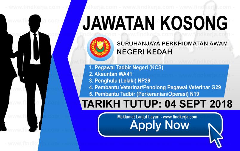 Jawatan Kerja Kosong Suruhanjaya Perkhidmatan Awam Negeri Kedah logo www.ohjob.info www.findkerja.com september 2018