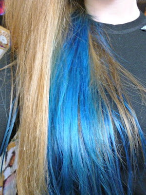 Directions neon blue hair dye underside on bleached hair