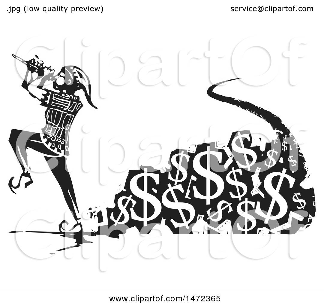 Clipart of a the Pied Piper Marching and Playing a Pipe with a Trail of Usd Currency
