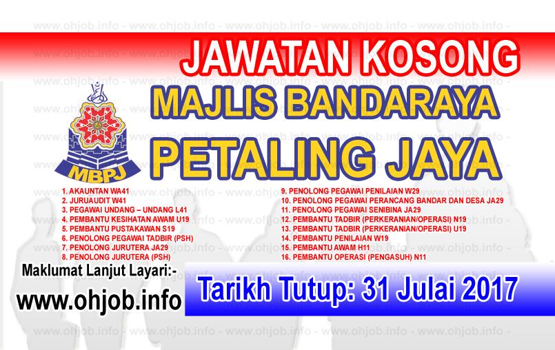 Jawatan Kerja Kosong Majlis Bandaraya Petaling Jaya - MBPJ logo www.ohjob.info julai 2017