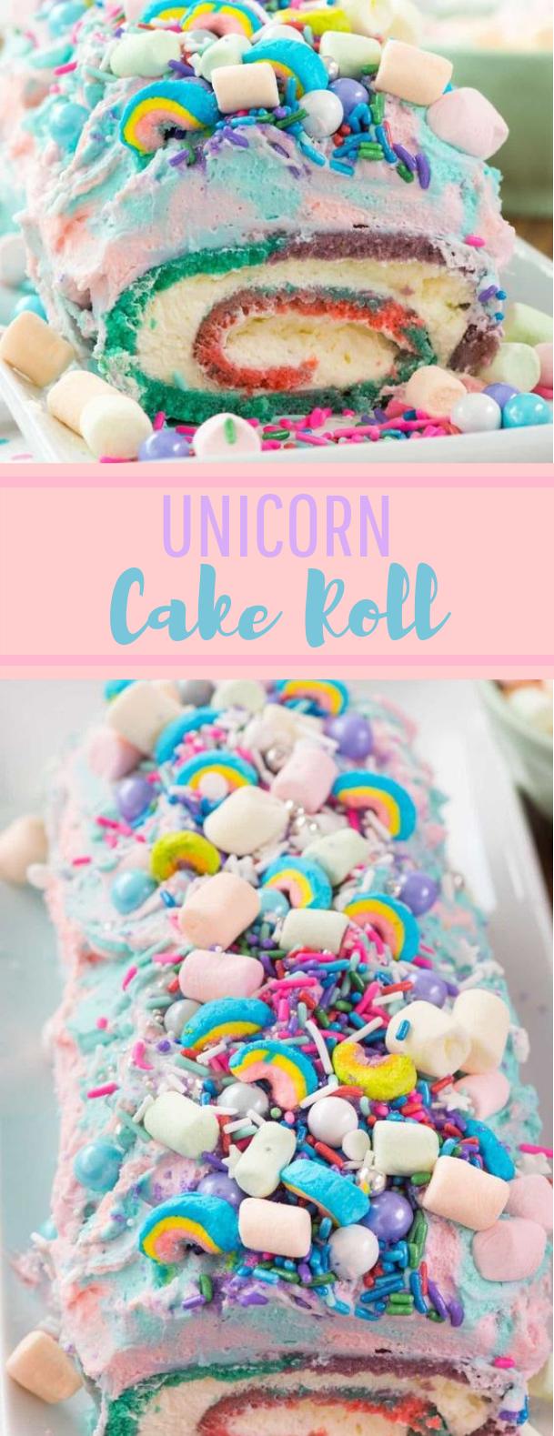 Unicorn Cake Roll #cake #desserts