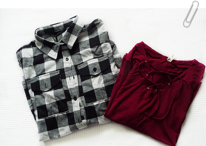 zaful.com new in Flowy Lace Up Swing Tee and Tartan Shirt with Pocket