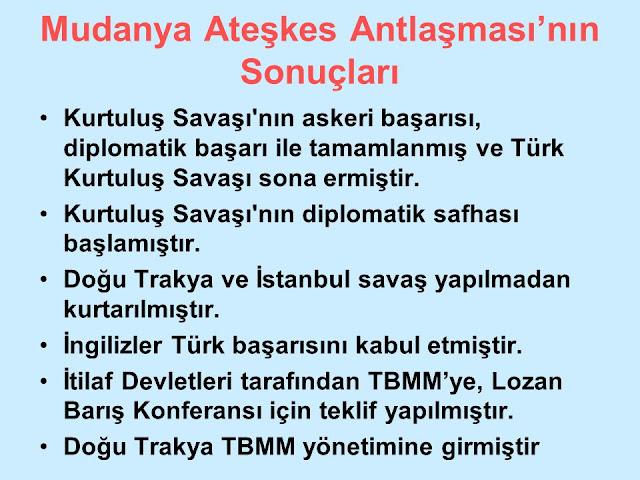 Mudanya Ateşkes Antlaşması sonuçları