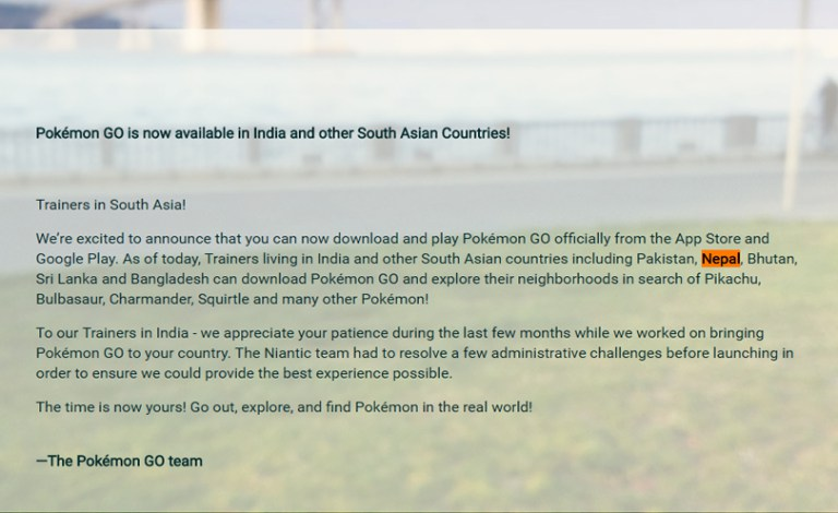 Message from Pokemon Go Team (http://pokemongolive.com/en/post/launch-in/)