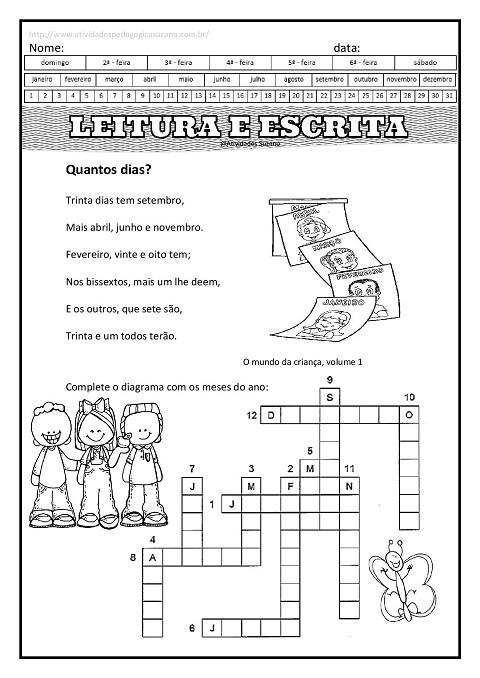Alfabetização, leitura, letramento, cruzadinha