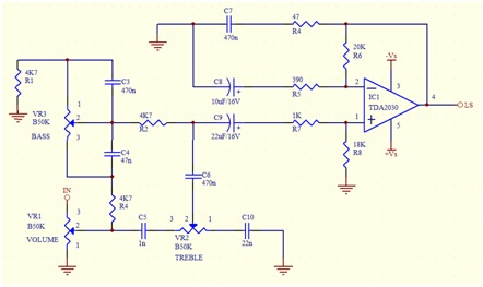 TDA2030 complete tone control Circuit Diagram