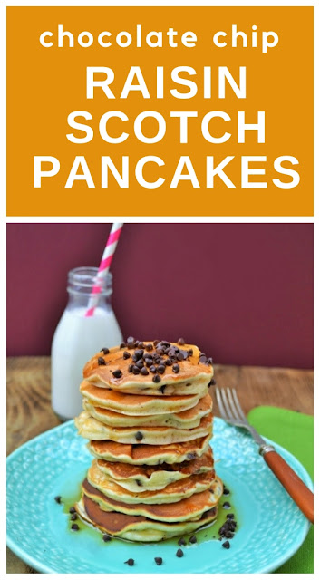 Chocolate Chip and Raisin Scotch Pancakes.Traditional Scottish pancakes studded with chocolate chips and raisins. So quick to make and very light and fluffy. Eat them warm and the chocolate is still heavenly melty. #pancakes #scotchpancakes #scottishpancakes #fruitpancakes #chocchippancakes #raisinpancakes #shrovetuesday #pancakeday