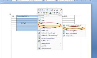 Menambah Kolom dan Baris Pada Tabel Microsoft Word 2007