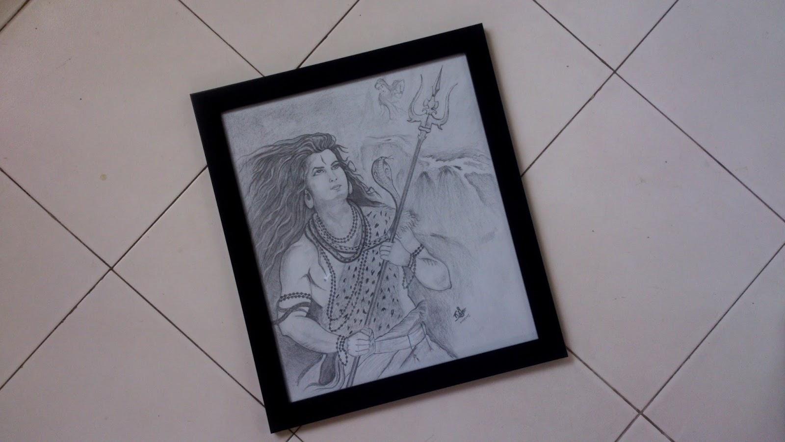 Lord shiva pencil sketch