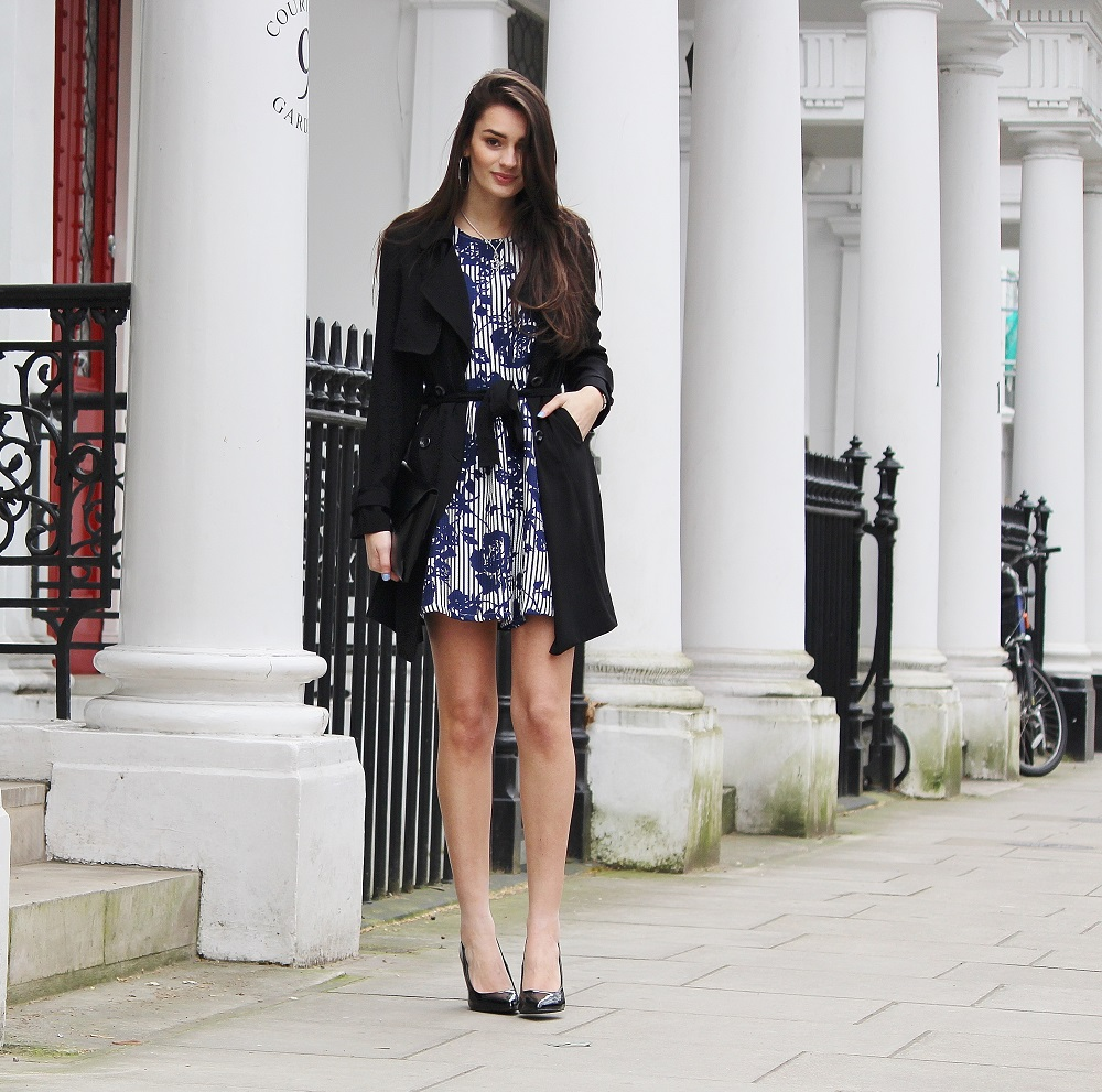 Peexo fashion blog spring outfit primark duster coat floral skater dress patent black court heels black clutch