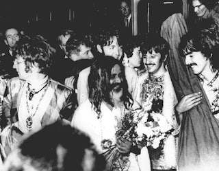 Maharishi Mahesh Yogi joins the Beatles in Wales in 1967.