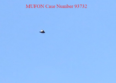 Mufon case number 93732 showing an excellent Ufo that is silver like a flying saucer.