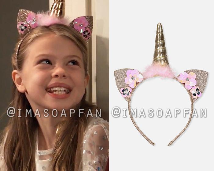 Charlotte Cassadine, Scarlett Fernandez, Gold Unicorn Headband with Sequin Flowers, General Hospital, GH