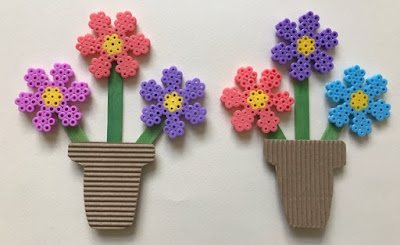 Hama bead flower bouquet craft