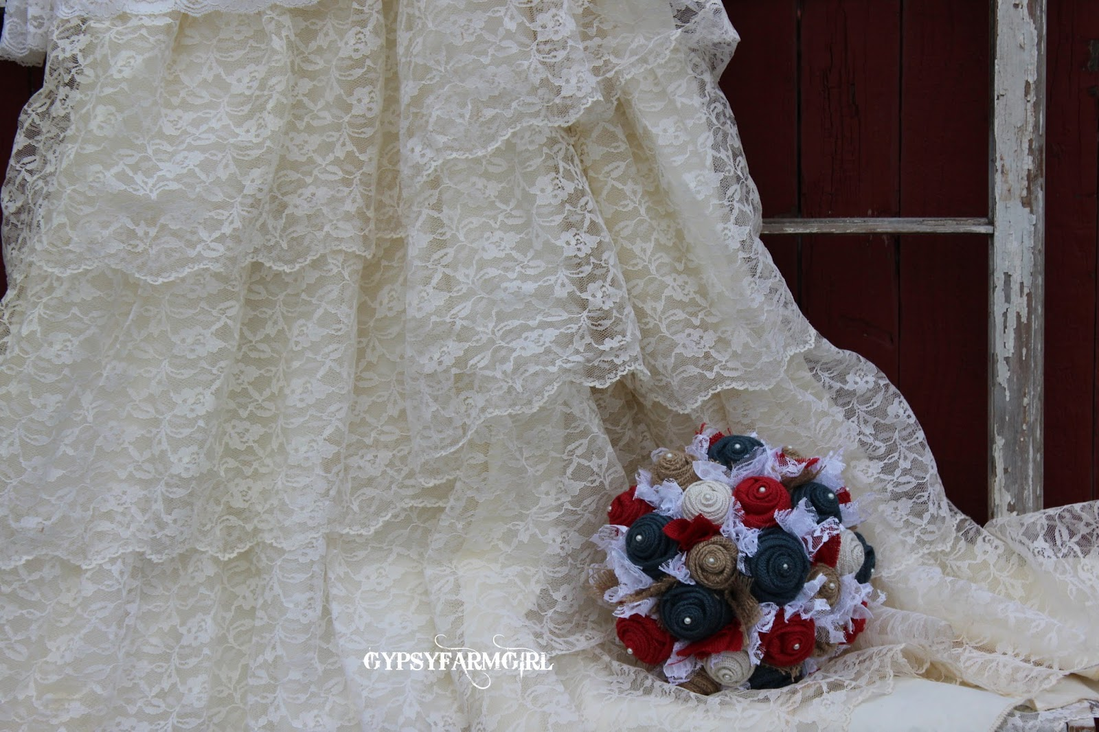 burlap and lace patriotic wedding bouquet