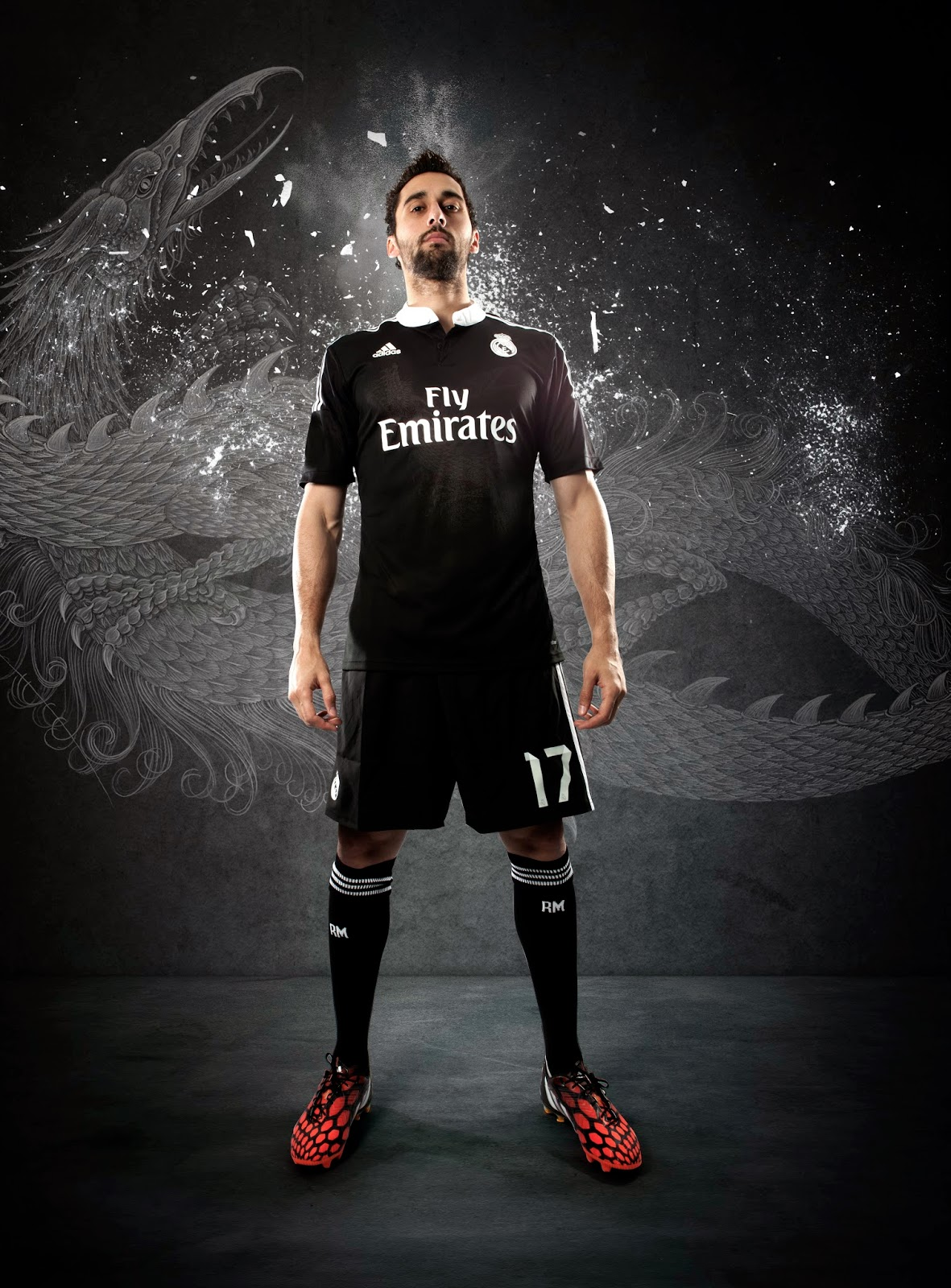 e5195c61f The black and white kit was inspired by Yamamoto's vision of a heroic story  that positions Real Madrid's players as modern-day heros.