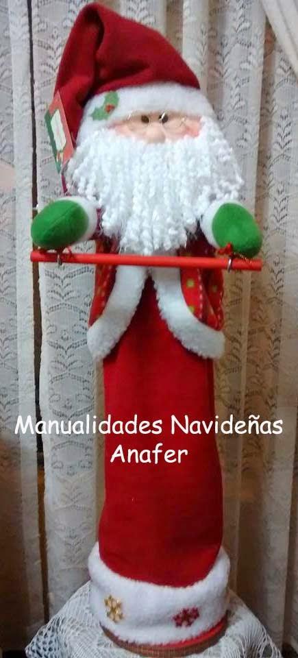Juegos De Baño De Navideno Paso A Paso:Manualidades Navideñas Anafer: Muñecos Navideños Portarollo