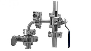 cutaway of sanitary ball valve on clean steam trap piping assembly