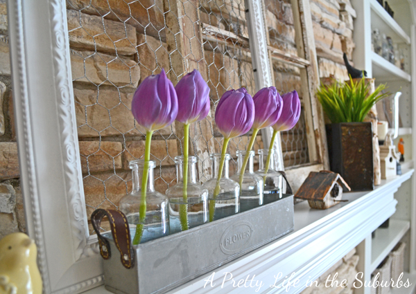 Pretty tulips on a mantel