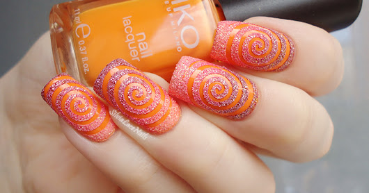 Silvia Lace Nails: Orange texture spiral nail art