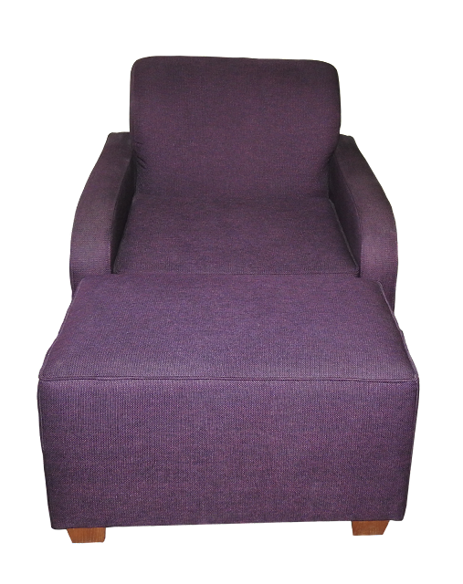 A low-backed modern chair with a large footstool, covered in purple fabric.