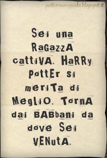 L4C28M1: lettera anonima ricevuta da Hermione