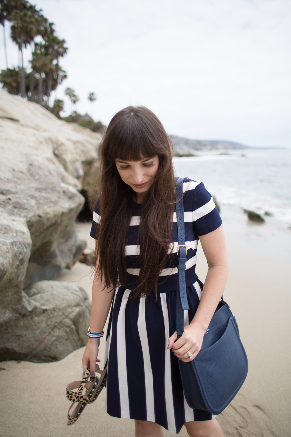 Eliza J Dresses Navy Stripe Cotton Fit and Flare Dress