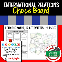 Civics and Government Digital Learning Choice Boards, Google Lessons, International Relations