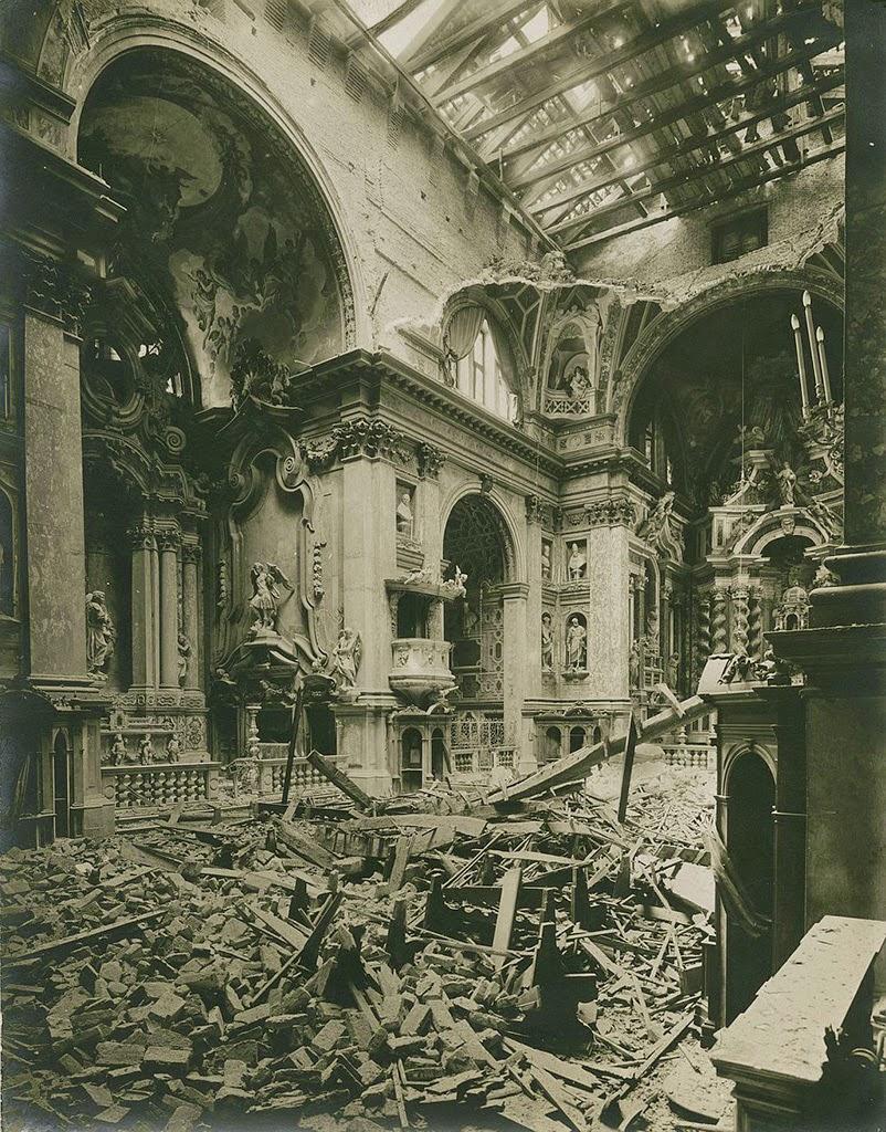 Photograph of the bomb damage, October 2015, Chiesa degli Scalzi in Venice