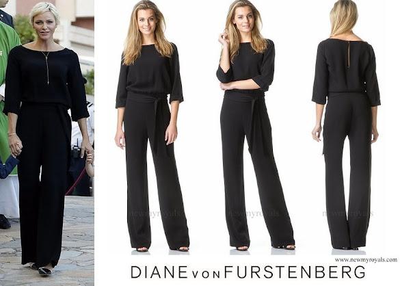 Princess Charlene wore Diane von Furstenberg Gwynne jumpsuit