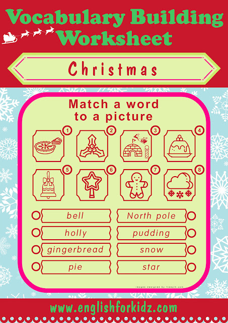 Printable Christmas worksheet for ESL students