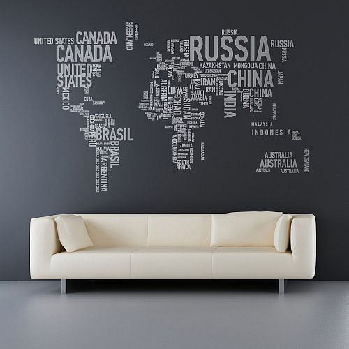And if youu0027re looking for something thatu0027s a little more Paula Scher like this world wall sticker might be more to your liking & Mad for Mid-Century: World Map Wall Decal for a Travel Nursery