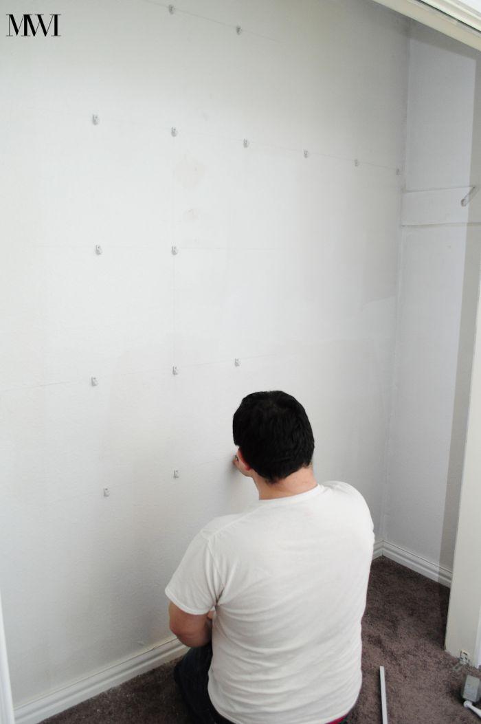 Installing closet drywall clips closetmaid